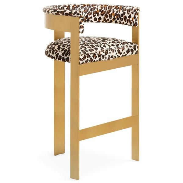 Marseille Bar And Counter Stool In Leopard Print Cowhide Counter
