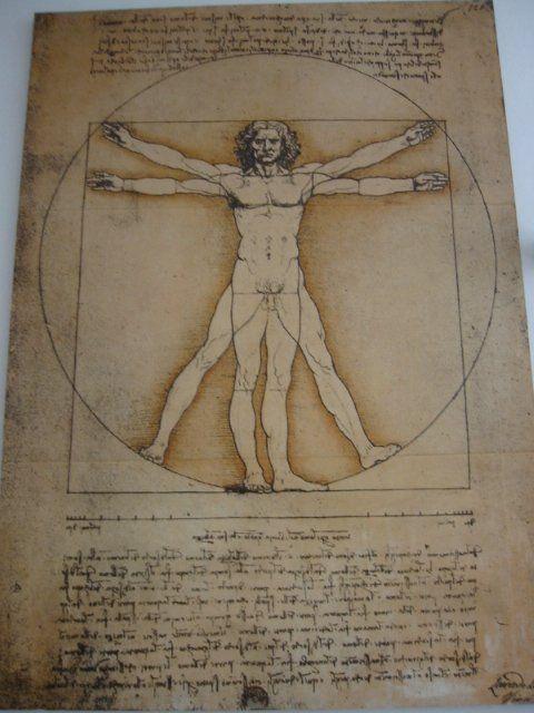 Da Vinci, drawing of man, 1485-1490