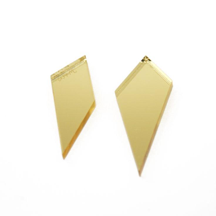 Shard Earrings in Gold. By Wolf & Moon