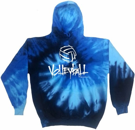 Abstract Volleyball Tie-Dye Hooded Sweatshirt - in 6 Bright Colors