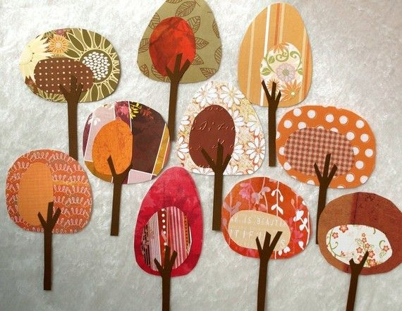could make a cool appliqued walll hanging out of these multi patterned fall trees!
