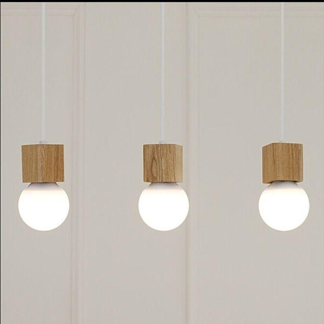 Ledream cosecha colgante luz de madera de roble lámpara Retro 120 cm de alambre de color E27 / E26 zócalo de madera portalámparas colgantes luminaria