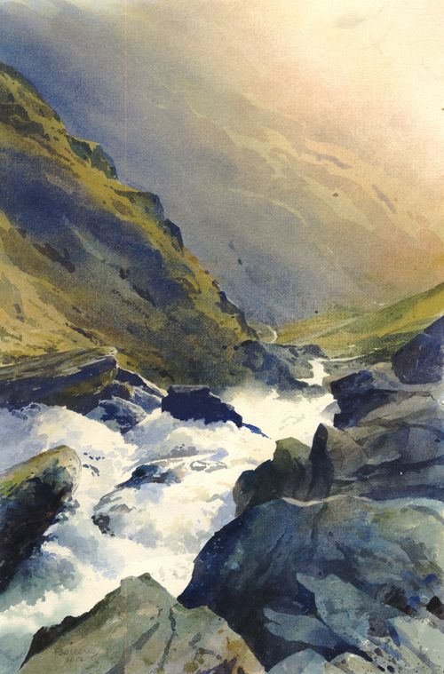 """#18 """"Afon Croesor, an original watercolour painting by Rob Piercy"""" from pinterest.com  the waterfall in this landscape make me feel very immersive, and that's how i want my landscape to feel"""