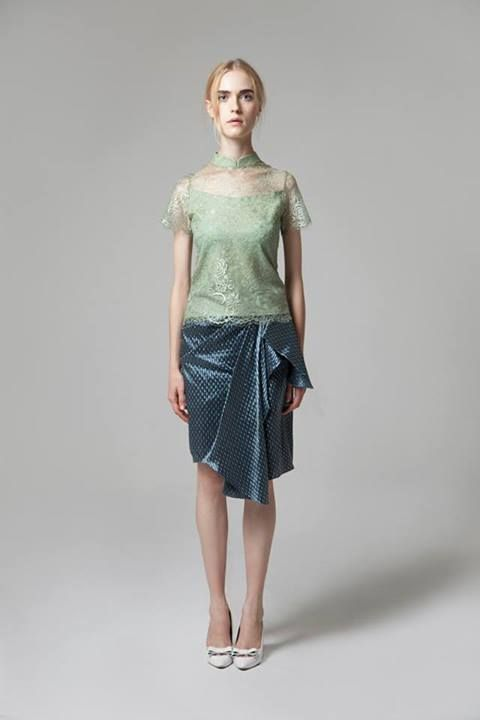 Sofia Top is fern green with Vera Skirt  For custom sizing and to order please email us at nmayinda@gmail.com or Whatsapp us at 08111047891.