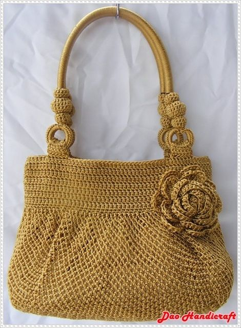 Source Handmade Bag : Hobo Style : Nylon : Golden with Rose flower on m.alibaba.com