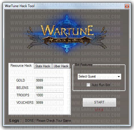 wartune hack gold belens troops and vouchers