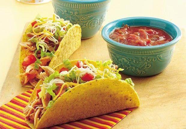 Hühnchen-Tacos: Mit Salsa gewürztes Hühnchen dient als Füllung für diese schnellen und einfachen Tacos.
