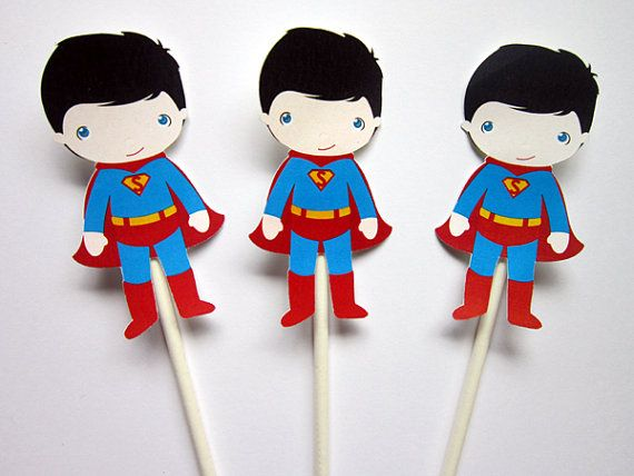 Superman Cupcake Toppers  Superhero Cupcake Toppers by CraftyCue