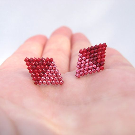 Earrings New Diamonds Dark Red and Metallic Rose by AmaltheaCph