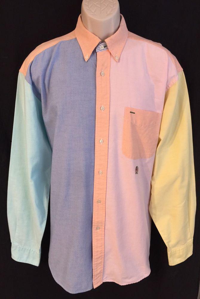 b1f248ab3 Vtg Tommy Hilfiger Shirt Mens L Colorblock 90s Pink Blue Button Long Sleeve   TommyHilfiger  ButtonFront