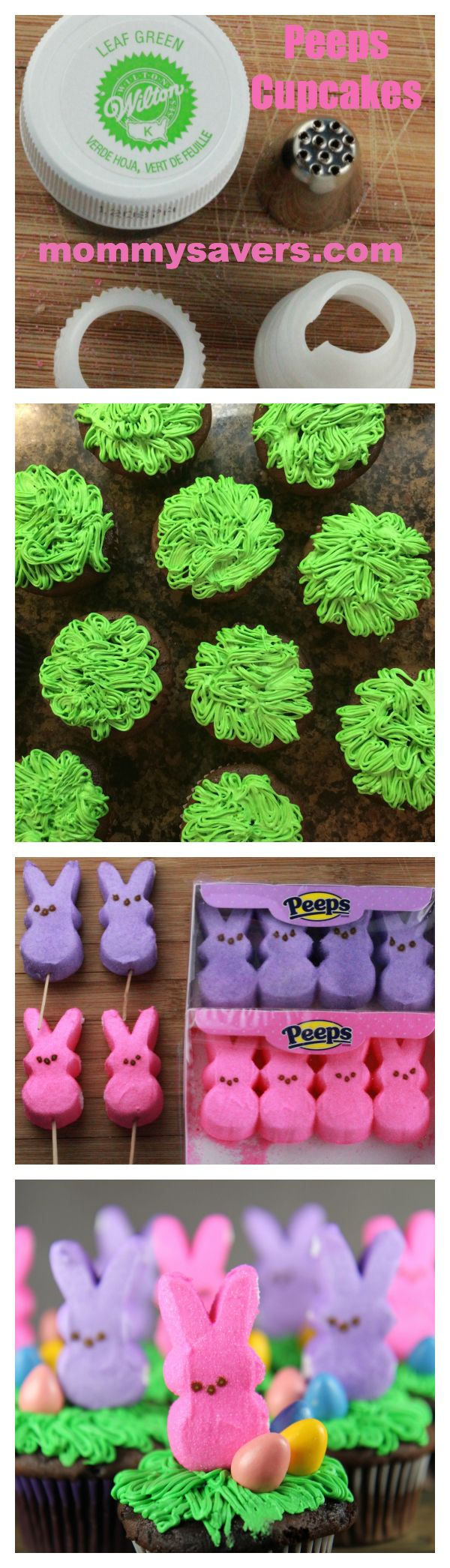 Easter Peeps Cupcakes + How to get the bunnies to stand up without falling over