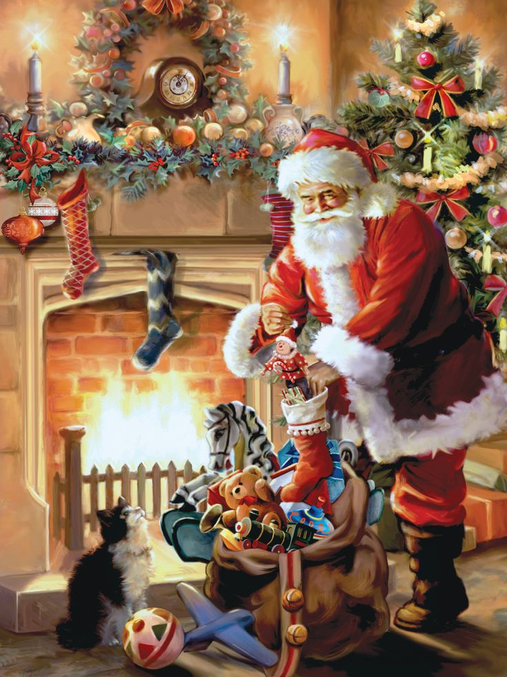 """Holiday Traditions series by Ceaco, titled """"A Visit from Santa Claus""""! 550 pieces...:"""