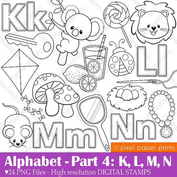 Alphabet Digital Stamps Part 4 KLMN clip art School