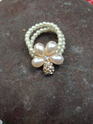 Pearl Flower Ring With Diamante Cluster | Buy Now