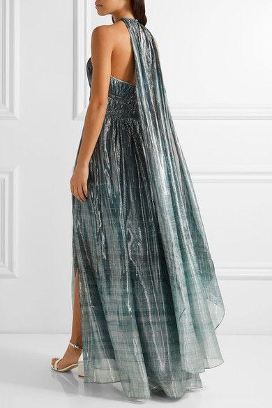 RACHEL ZOE Deven printed silk-blend lamé gown 2