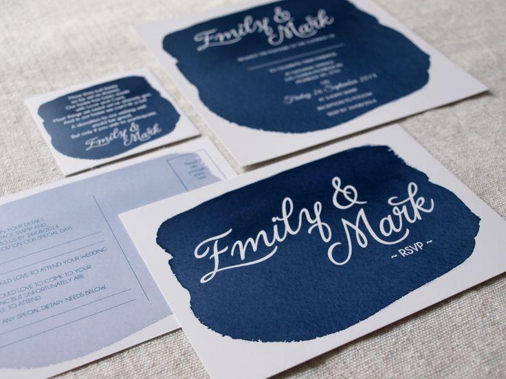 Navy Watercolor Wedding Invitation by Alannah Rose
