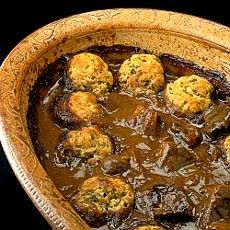 Steak and Kidney Hot Pot with Crusted Dumplings