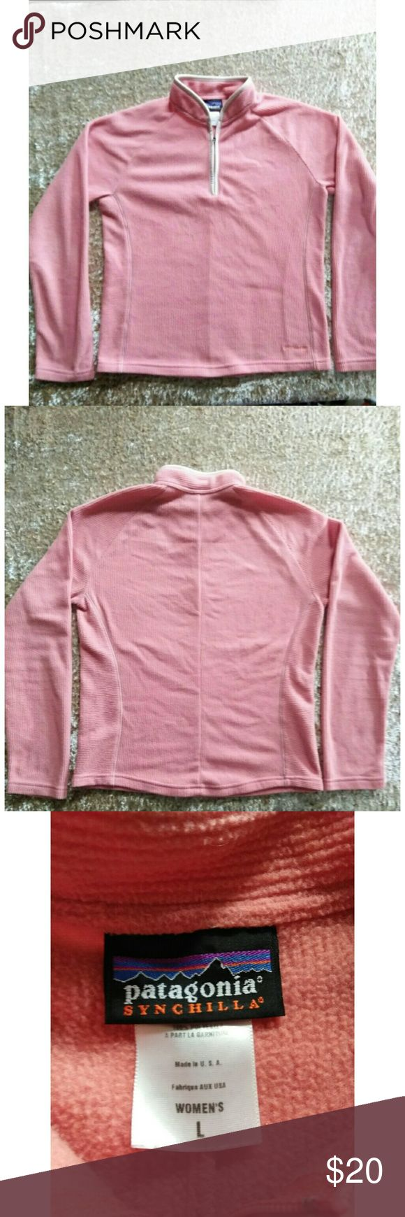 Patagonia Lightweight Pullover  Large Salmon Cute This Patagonia Pullover top is just the right weight for those cool summer nights.  It has contrasting trim and the Patagonia label is subtly located near the bottom hemline. Patagonia Sweaters