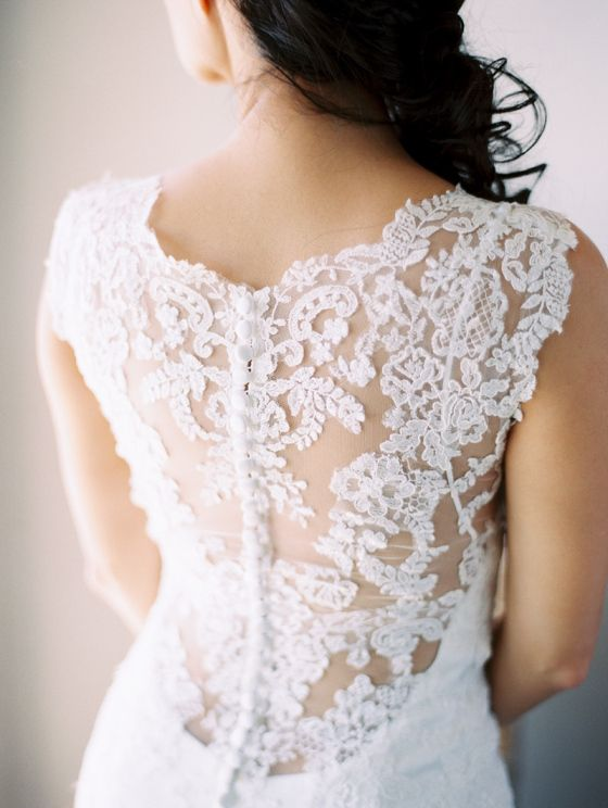 Gorgeous laguna beach wedding with intricate lace back for Wedding dresses with dramatic backs