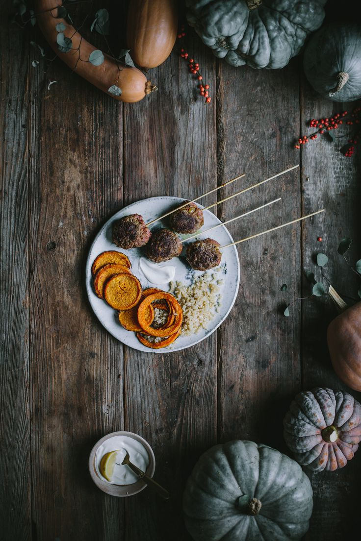 Spiced Beef Skewers with Roasted Squash & Garlic Rice