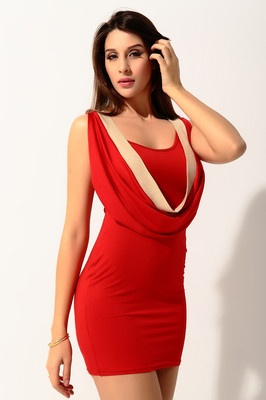 Red round neck sleeveless backless slim tight evening prom sexy mini dress