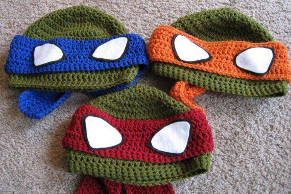Crochet Ninja Turtle Beanie any Size any Color. $22.00, via Etsy.