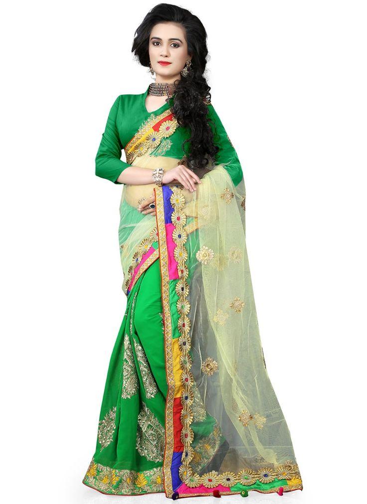 Buy Intricate Georgette Green Classic Saree #sarees #saree #sari #designersaree #sareebuzzlove #sareebuzz