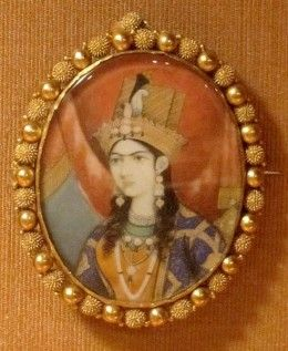 This is an ivory-based miniature portrait painting of Mumtaz Mahal, to whom Taj Mahal, the world famous monument is dedicated.