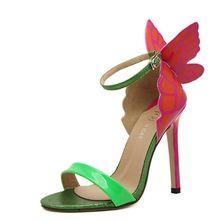 Modelos de explosão 2016 NOVAS Mulheres Sophia Webster Borboleta Colorida Sandálias Bombas 11.5 cm Salto Fino Peep Toe Sapatos de Salto Alto alishoppbrasil