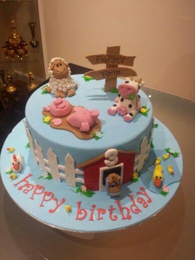 Top view fondant farm cake