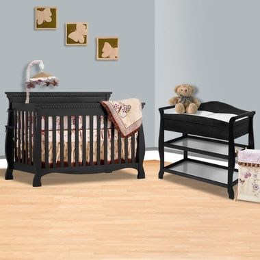 Storkcraft 2 Piece Nursery Set   Venetian 4 In 1 Convertible Crib And Aspen  Changing Table With Drawer In Black