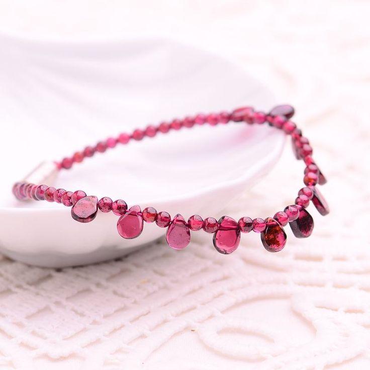 JoursNeige Natural Garnet Bracelet Raindrop 3mm Beads Jewelry Bijoux Vintage Collares Collier Women Crystal Bracelet