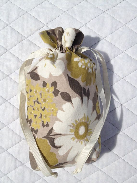 Super cute!! -- Lined Drawstring Bag for Toys or Baby Items - Medium Size @Mary Powers Czarnecki