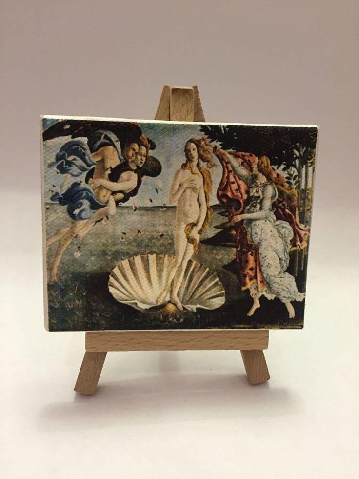 Miniatura Quadro 9x7 Cm La Venere Di Botticelli Con Cavalletto
