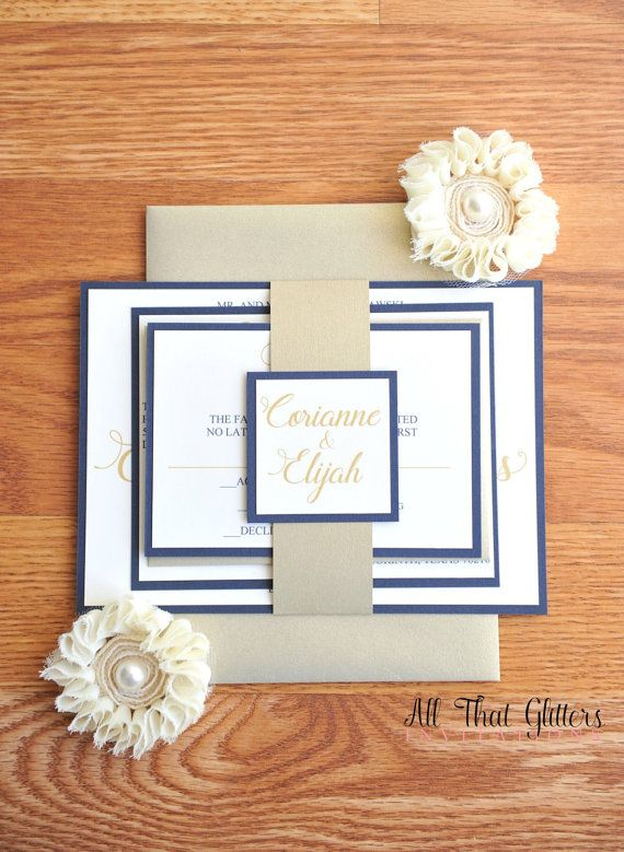 Navy and Champagne Wedding Invitation Suite by ATGInvitations