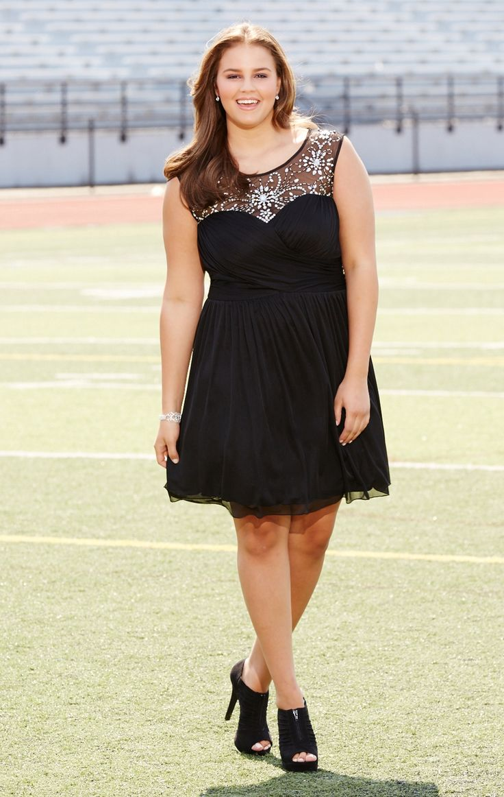 Plus Size Short Homecoming Dress with Illusion Bodice and Soft Skirt