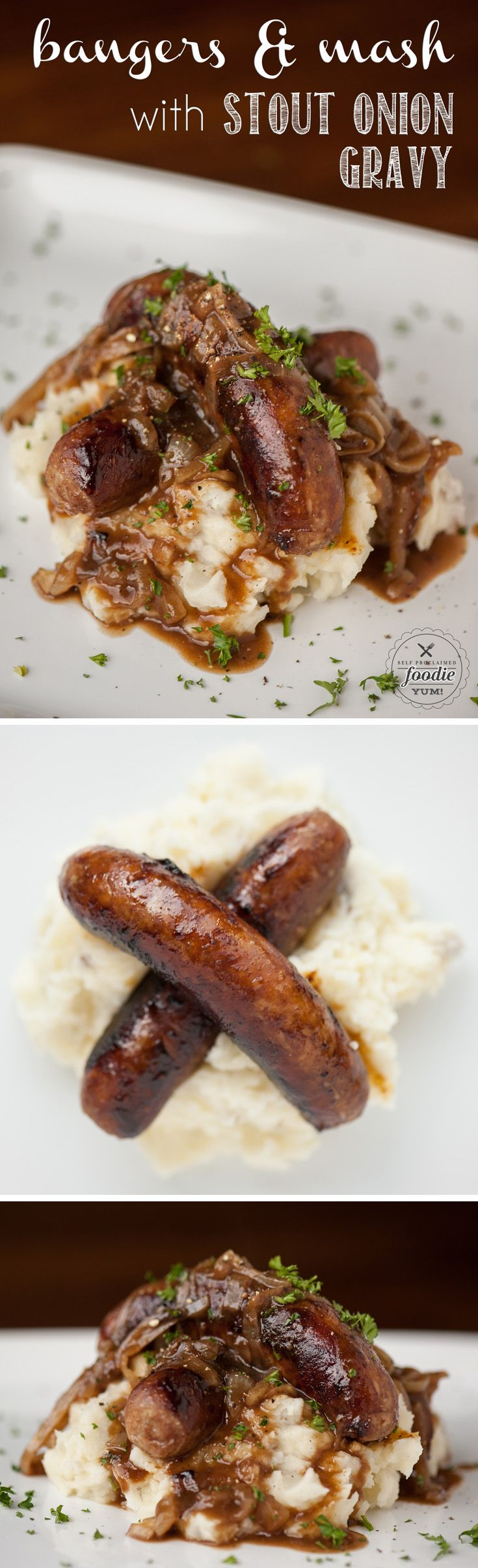 Serve up some delicious Bangers and Mash with Stout Onion Gravy for a quick and easy dinner the entire family will love, especially on St. Patrick's Day.