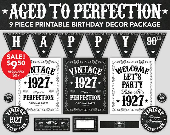 Aged to Perfection Birthday Decor - 90th Birthday - 1927 Vintage Design - Printable Birthday Party Decorations - Instant Download