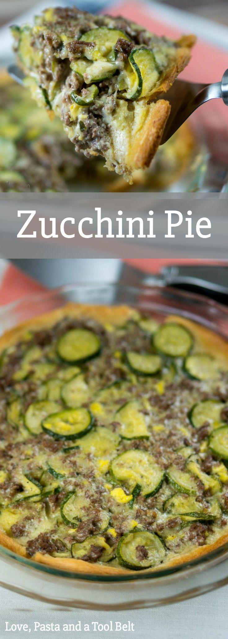 Zucchini Pie - recipes | dinner | ground beef | mozzarella cheese | crescent rolls | main dish | zucchini recipe | pie |  via @LovePastaBlog