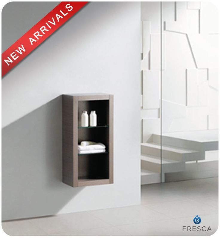 """Fresca FST8130 32"""" Wall Mounted Bathroom Linen Cabinet with Three Shelves Gray Oak Bathroom Cabinets Linen Towers Linen Tower"""