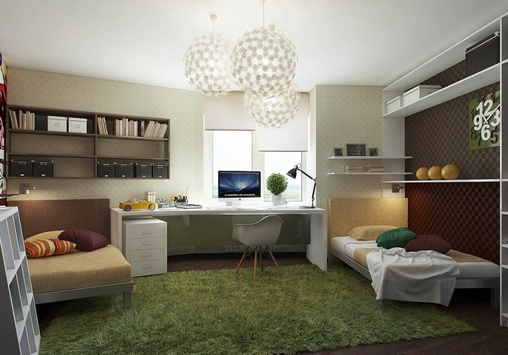 Tapetes felpudos e que imitam grama deixam o ambiente mais aconchegante.: Teen Bedrooms, Teen Workspaces, Teen Rooms, Boys Rooms, Green Rugs, Home Interiors Design, Bedrooms Ideas, Kids Rooms, Teenage Bedrooms