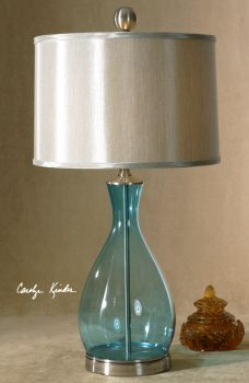 This Lamp Offers A Clear Blue Mouth Blown Glass Body With Satin Nickel Metal Detail And Silken Silver Gray Hardback Shade