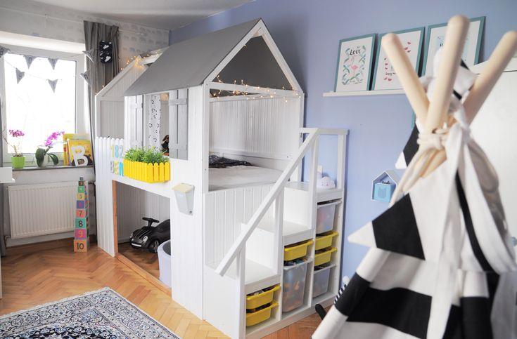 IKEA KURA Hausbett bauen mit Treppe und Garage www