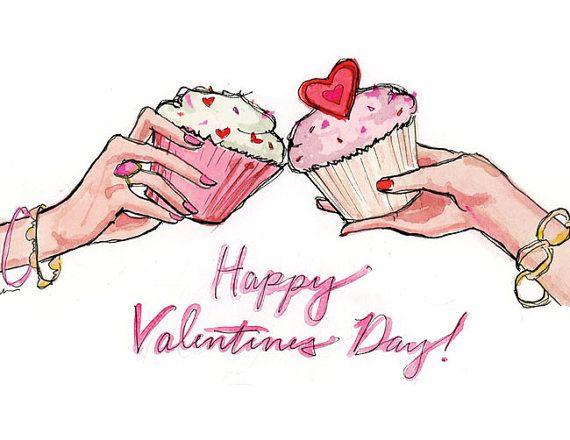 Set di carte illustrate di San Valentino: tostatura Cupcakes