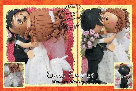 bride and groom (whimsical) in clay and fun felt....very cute