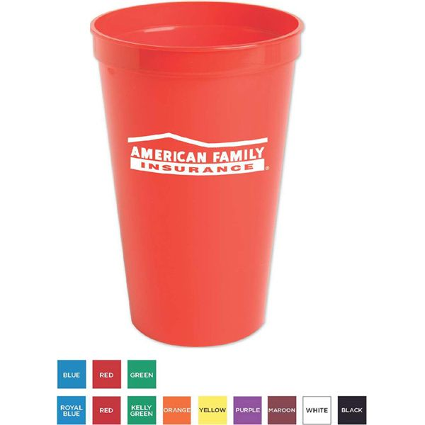 """Stadium cup made from a BPA free food grade polypropylene (#5) and is both CPSIA and FDA certified. Designed to fit into most car cup holders. Makes a great souvenir from any event. This stadium cup is ideal for promoting sporting events, bars, restaurants, corporate picnics, and fund raisers. Product is 5 1/2"""" H x 3 5/8"""" Diameter in dimension. Available in 3 translucent colors and 9 solid colors! Made in the USA."""