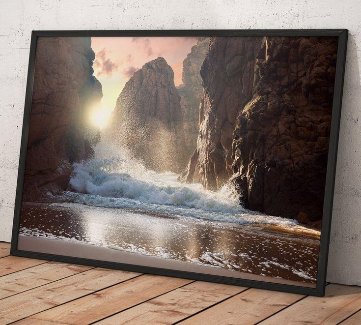 FANTASTIC BIG ROCKS AND OCEAN WAVES AT SUNDOWN TIME №01400