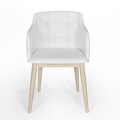 Cork chaise de s jour capitonn e blanche petite d co for Chaise d implantation