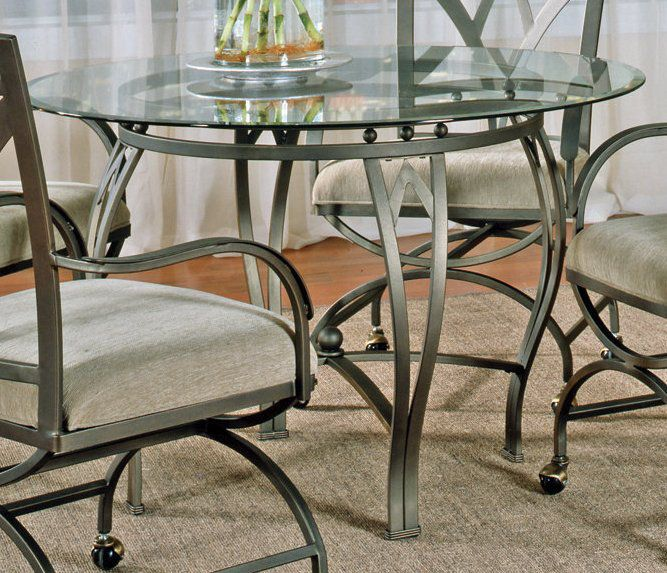 Steve Silver Madrid Glass Top 45 3 Inch Round Dining Table