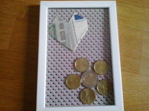 Fotolijstje met geld. Simpel en leuk. Snel gemaakt.
